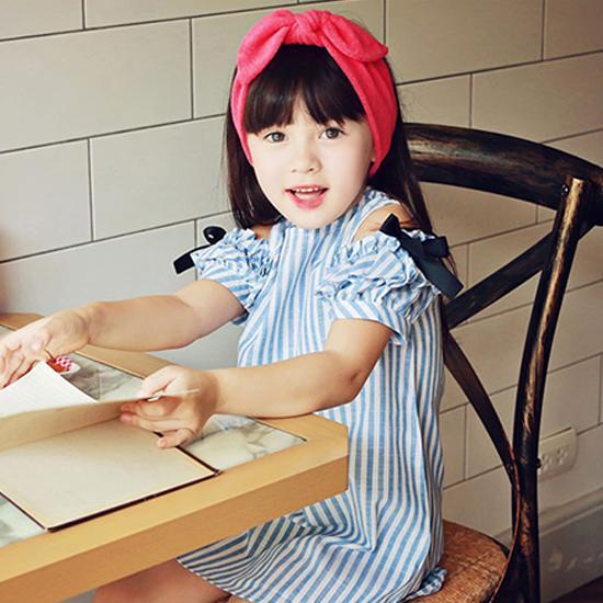 韓國童裝女童連衣裙2016夏季新款露肩蝴蝶結裙子兒童夏裝公主裙棉