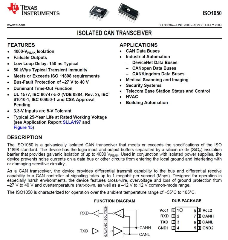 [Digital Isolator] TI  ISO1050DUBR  25Mbps, ISO1050