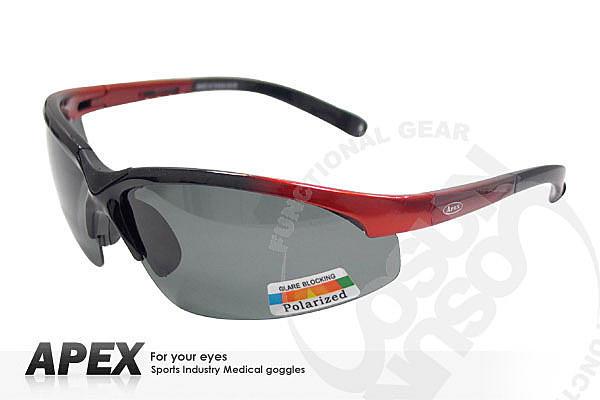 大里RV城市【APEX】運動型太陽眼鏡-偏光鏡.防滑.抗UV護目鏡.軟質高鼻墊.登山 滑雪 黑/紅 908