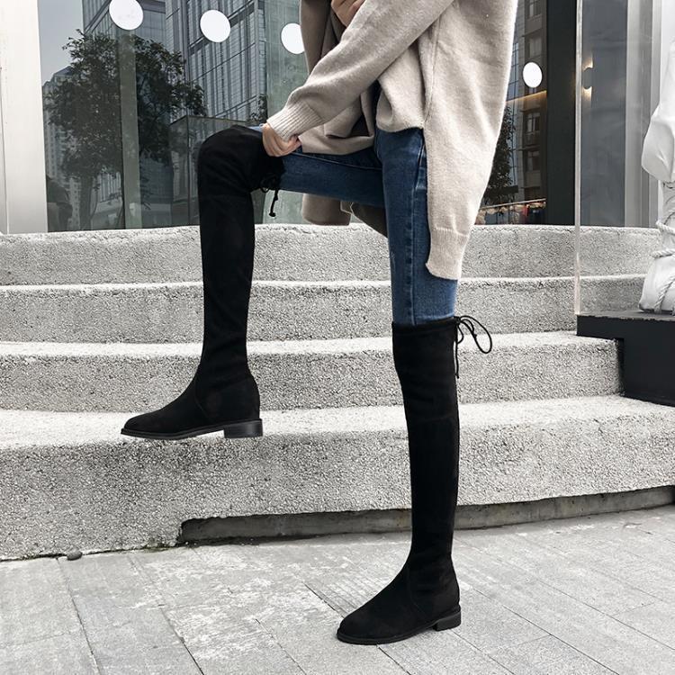 長筒靴2019女秋冬新款顯瘦韓版長筒靴低跟綁帶過膝靴彈力靴平底長靴女潮 一級棒Al新品 全館免運