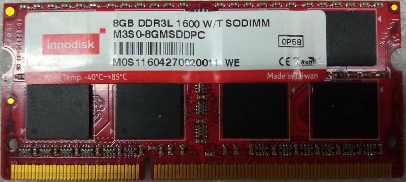 保羅電腦 innodisk原廠終保,筆電適用高階工業級專用低壓DDR3 8G-1600記憶體,升級良品,請參考內容說明