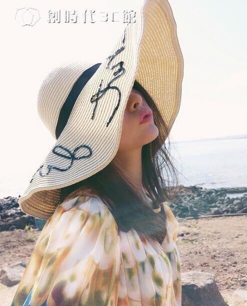 劉濤安迪帽子女夏歐美遮陽帽亮片字母度假沙灘帽大檐防曬草帽 一級棒-可開立發票 免運Al