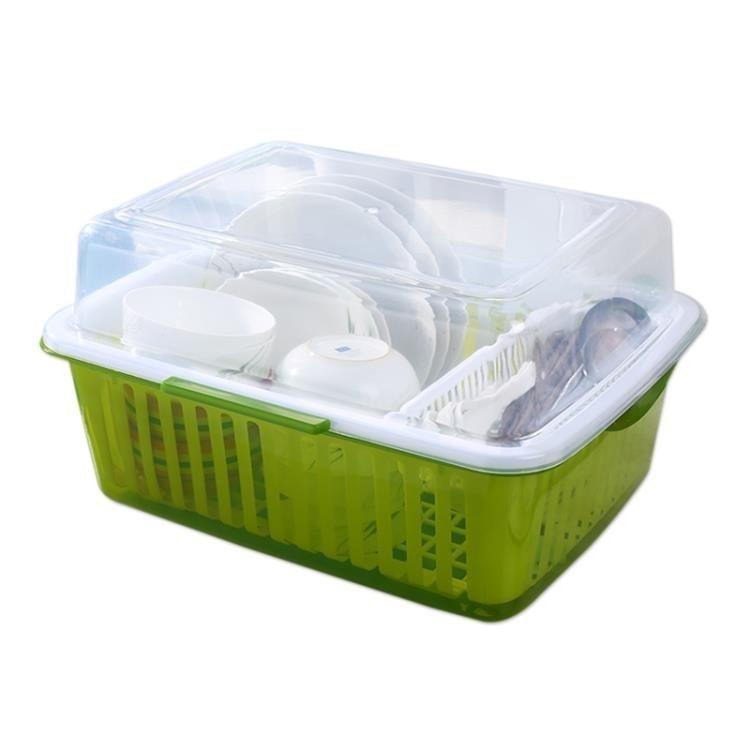 免運 可開發票 廚房大號塑料帶蓋碗碟置物架收納架碗碟架碗碟整理瀝水碗櫃  〖花開物語〗