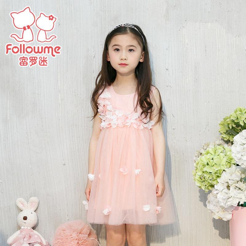 富羅迷女童連衣裙雪紡純色百褶連衣裙2016夏季新款公主裙