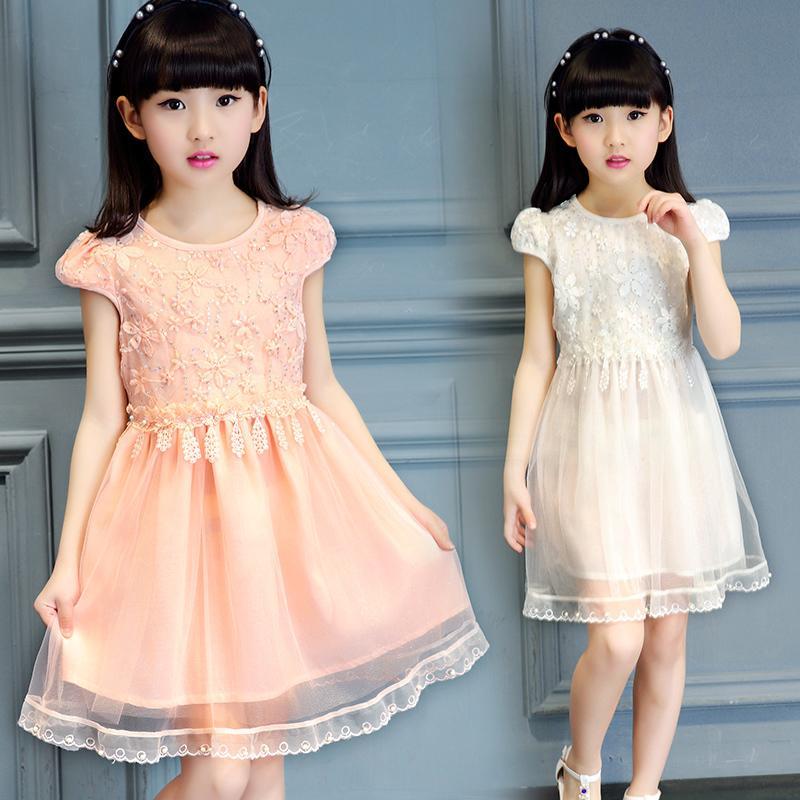 童裝女童連衣裙2016夏季新款短袖亮片蕾絲公主裙中大女童紗裙