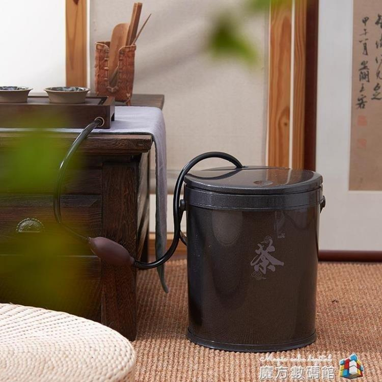 免運 可開發票 茶桶茶渣桶塑料茶水桶茶具配件排水桶泡茶濾水桶帶提手茶葉桶   〖花開物語〗