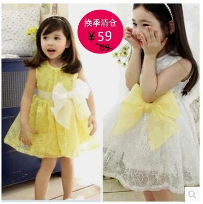 2016女童夏季新款短袖連衣裙韓版黃色歐根紗公主裙兒童六一舞蹈裙