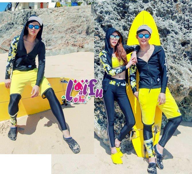 .°。.☆小婷來福*.。A157泳衣黃迷彩長袖拉鍊外套四件式泳衣游泳衣泳裝比基尼泳衣正品,單男售價1500元