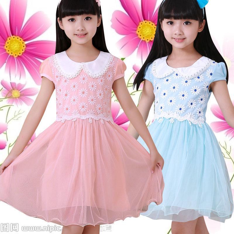 2016夏季新款女童連衣裙韓版可愛公主裙中大童時尚短袖背心裙子