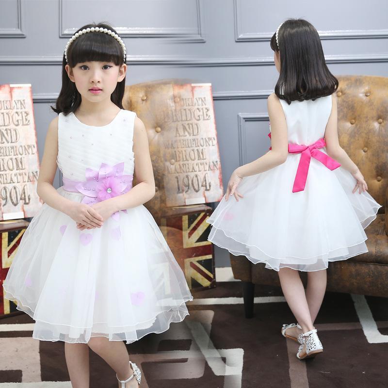 6夏季兒童裝7女童白色連衣裙8花朵9背心裙子10歲公主紗裙12演出服