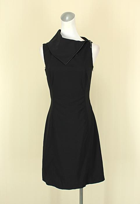 貞新二手衣 ELIETAHARI 設計師品牌 黑色船型領無袖棉質洋裝M(2號)(39163)