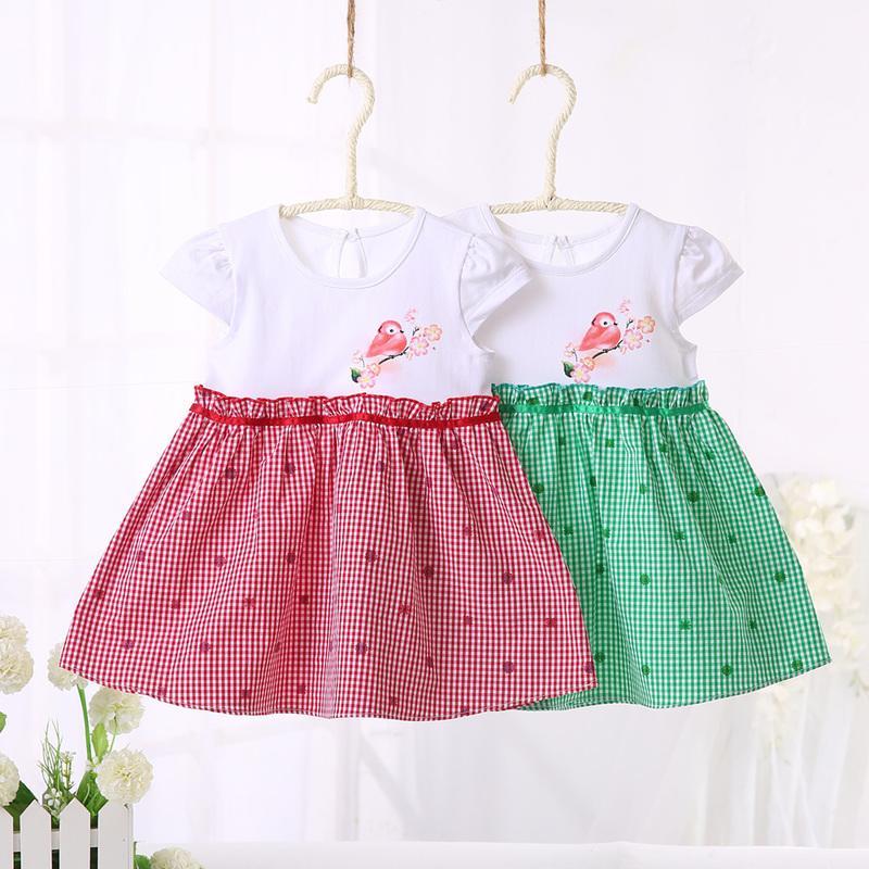 嬰兒連衣裙格子布公主裙夏季 寶寶短袖裙子背心裙女童甜美連衣裙
