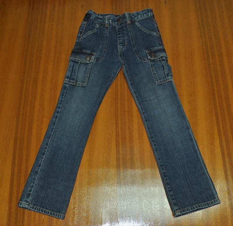 Miki House double b 黑熊藍色大口袋牛仔褲(120cm)