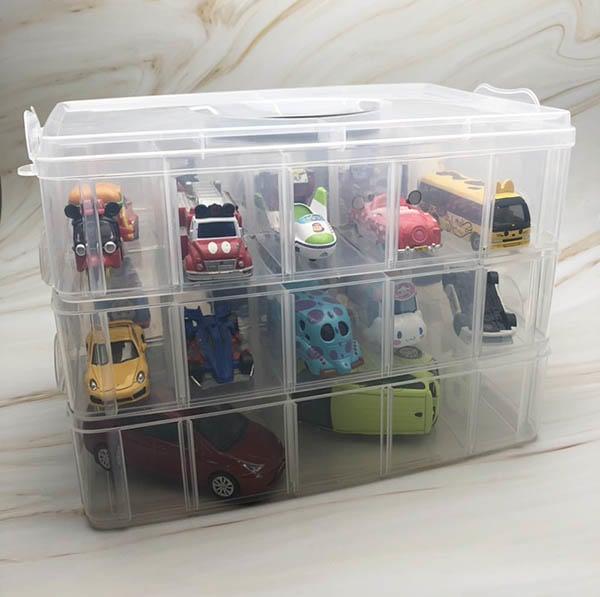 潔夫人 多功能30格三層收納盒(大號) 手提玩具收納盒/透明收納箱/收納盒