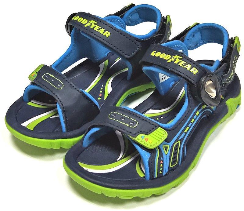 【菲瑪】GOODYEAR 2WAY 磁扣涼鞋 腳背帶可調鬆緊 可拆後帶涼拖兩用  極速賽車 童 藍GAKS98806