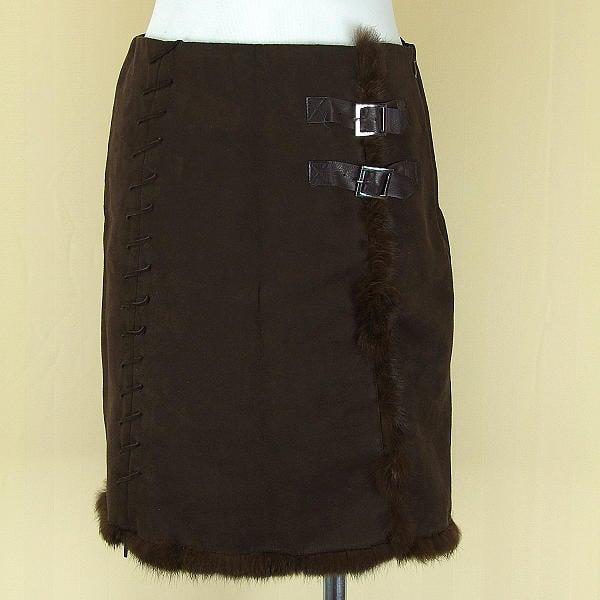 貞新二手衣 DAHSEN 咖啡兔毛棉質及膝裙M號得標是裙(2745)