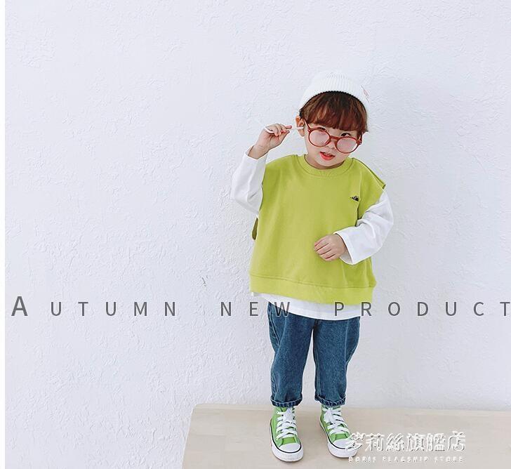 男童長袖上衣-童裝寶寶秋裝衛衣新款韓版男童假兩件上衣小童百搭洋氣打底衫   熱銷
