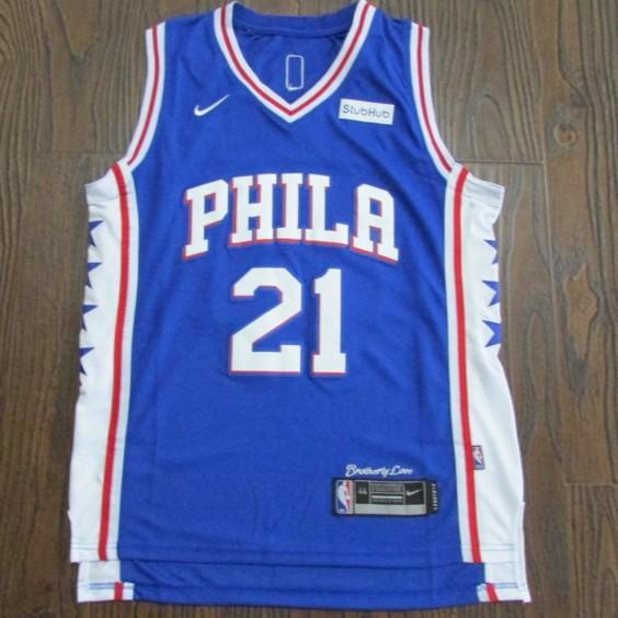 NBA球衣 nike耐吉版球服2018 NBA新賽季 耐克版 76人21 embiid藍色恩比德球衣 25Simmons