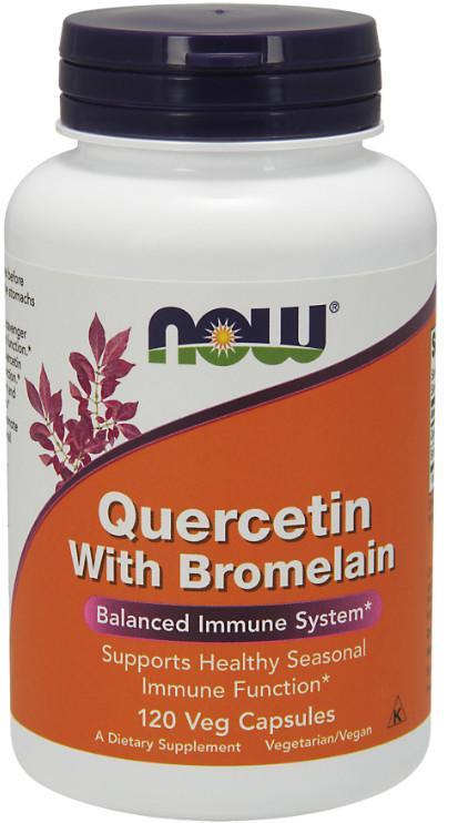 Now 槲皮素+鳳梨酵素120/ 240粒 素食 Quercetin With Bromelain