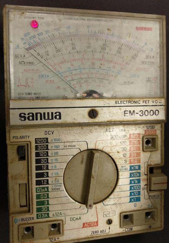 二手市面稀少Sanwa EM-3000 FET Multimeter萬用錶(上電有反應當收藏/裝飾品