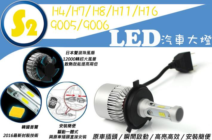 ((買一送一))- 8000lm S2 LED大燈 汽車LED頭燈 H4/H7/9005/9006/H11/H8/H16