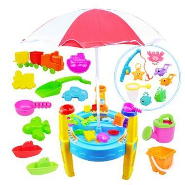決明子沙灘桌大號圓形沙水桌夏季沙灘玩具桌戲水桌玩沙池帶遮陽傘(限宅配)