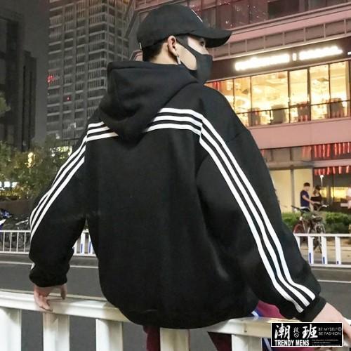 『潮段班』【HJ003253】秋冬新款線條運動風格長袖連帽上衣T恤帽T