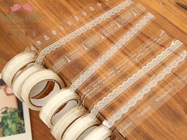 ◎私房角落【BBC0007-W】衝評透明PVC蕾絲花邊點點鐵塔字母裝飾膠帶|ZAKKA MT布膠帶拍立得貼紙