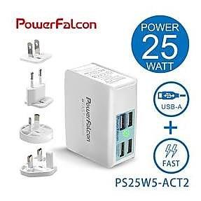 PowerFalcon 25W USB-A QC3.0 4孔快速充電器-旅行萬用接頭款-5821002