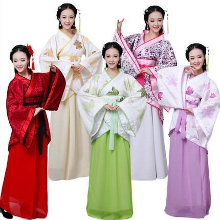 免運 新款漢服女裝漢服曲裾古裝服裝 漢服民族服裝女古裝曲裾演出服裝
