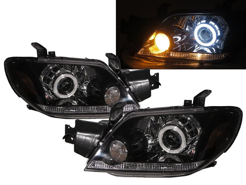 卡嗶車燈 Mitsubishi 三菱 Outlander 03-05 光導LED光圈魚眼 大燈 黑