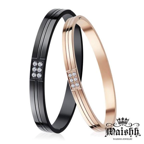 情侶手環 ✠ Waishh ✠ 閃耀愛情 IP黑/玫金 鋼手環【單個價】【CLS004】