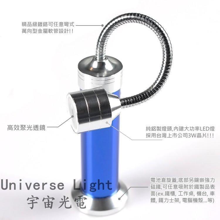 18650/4號電池 雙電力/ 底部強磁鐵 強光 1W LED 蛇燈 工作燈 磁吸式 手電筒 彎曲 蛇管燈 軟管燈