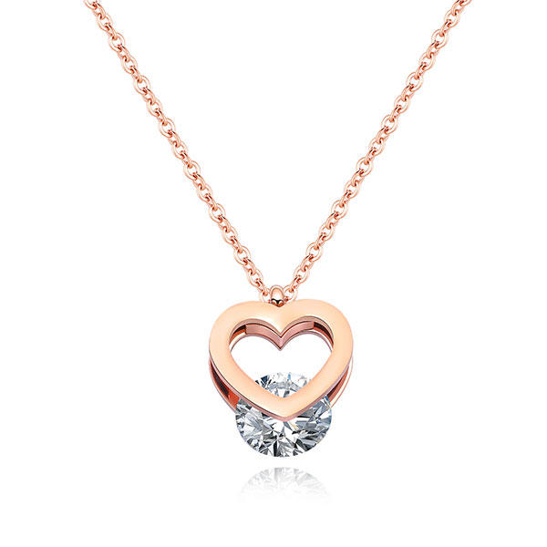 《 QBOX 》FASHION 飾品【C100N1415】精緻秀氣簡約愛心鑲鑽玫瑰金鈦鋼墬子項鍊
