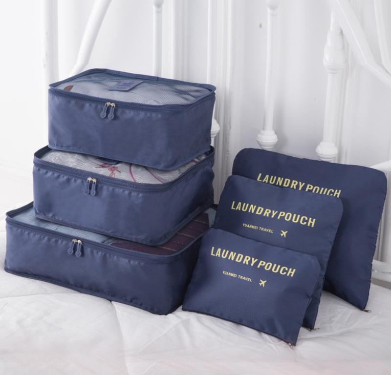 【旅遊衣物收納6件組】 旅行衣物收納 旅遊盥洗袋 出國收納袋 衣物分類袋 行李箱收納袋 雜物收納袋