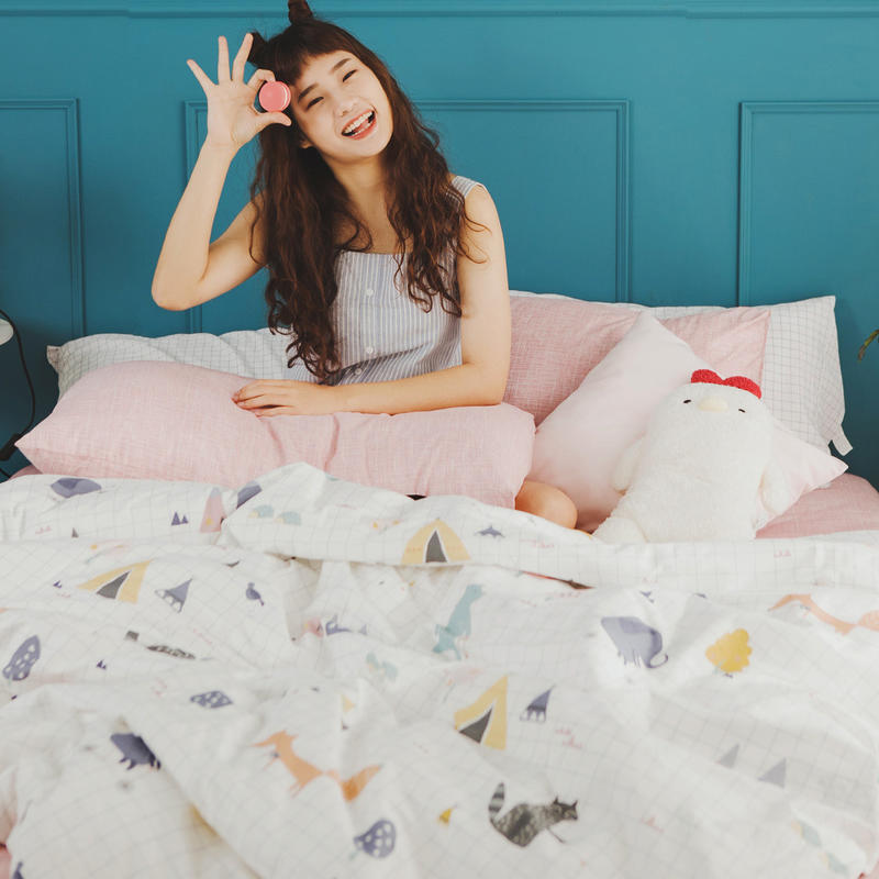 MIT精梳純棉-床包薄被套組/雙人加大【白日夢-櫻粉】絲薇諾