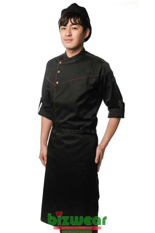【食尚家】工業風廚師服,電視劇大廚服,時尚設計款,類牛仔丹寧單寧廚師服,壓釦式勝利款主廚服,特殊色秀服-黑色