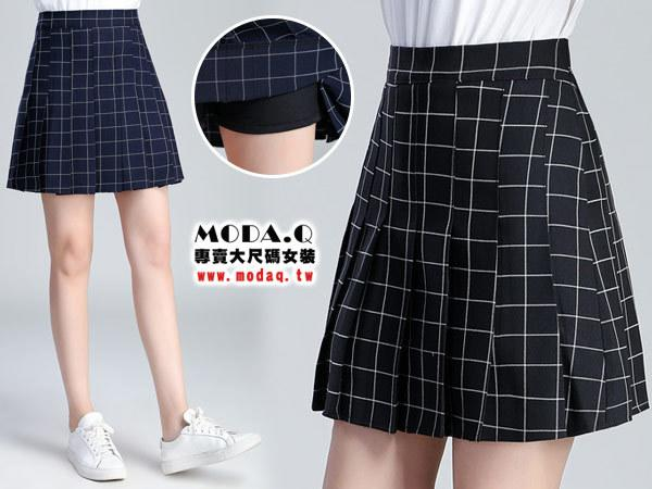 *MoDa.Q中大尺碼*【X788】高品質格紋打摺拉鍊造型百搭裙褲