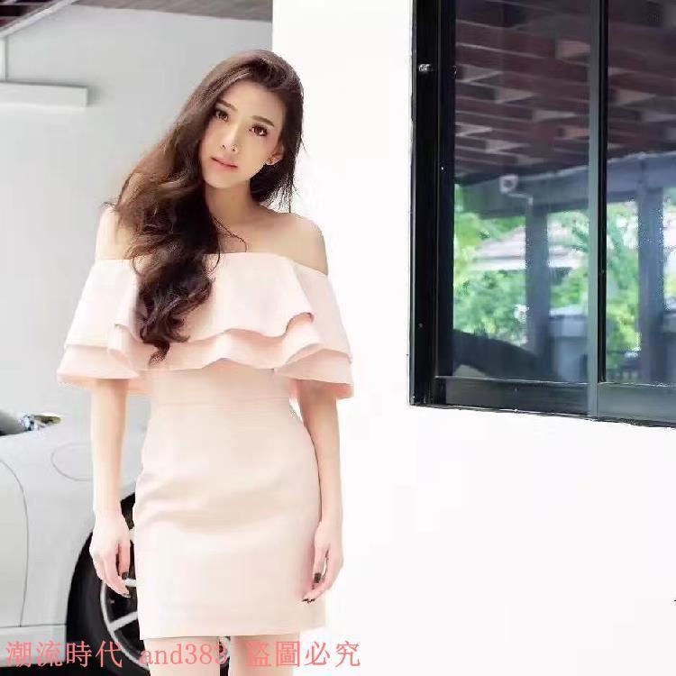 泰國潮牌經典粉嫩一字領雙層超大荷葉邊收腰A字吊帶連衣裙女
