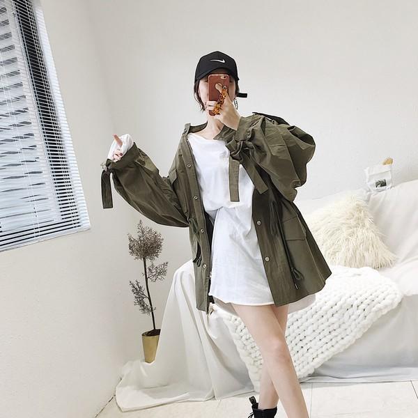 歐美款韓版韓系復古英倫風OL性感百搭長版寬鬆寬版修身顯瘦收腰綁帶風衣大衣夾克西裝外套系帶收腰顯瘦排扣長
