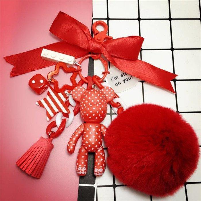 韓國暴力熊鑰匙扣掛件卡通可愛汽車鑰匙掛飾掛鍊包包掛件生日禮物
