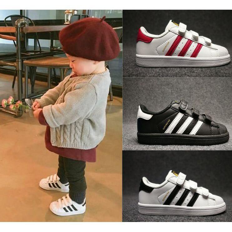 Adidas superstar黑白款 金標 貝殼頭 魔鬼氈 童鞋 愛迪達童鞋