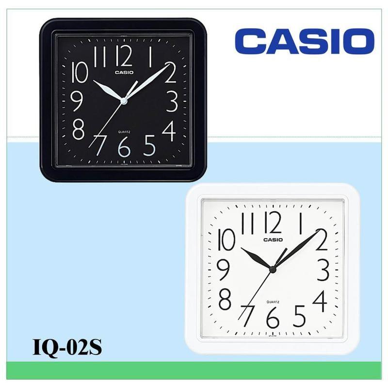 CASIO時鐘 居家必備 大數字 對比顏色 大方流線正方形掛鐘(10吋) 保證公司貨附保固卡全省保固IQ-02S
