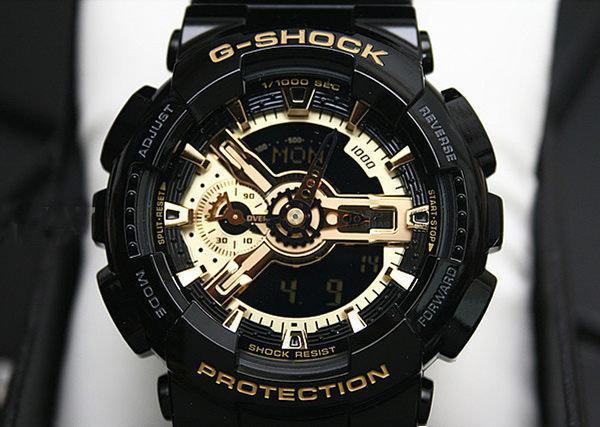 ★大錶哥★-限量販售 G-SHOCK GA-110GB-1A CASIO 運動 手錶 黑金 指針 防水防震