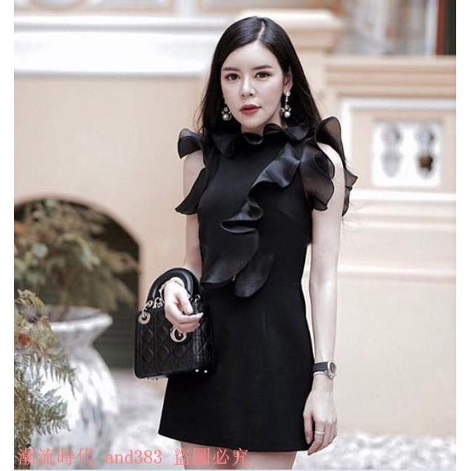 泰國潮牌2017春夏新款名媛輕奢歐根紗荷葉邊修身顯瘦連衣裙禮服