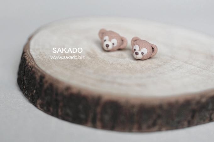 925純銀耳環-阪堂SAKADO-軟陶+純銀系列--東京海洋迪士尼游園必備攻略---Duffy達菲熊-A(也有耳夾款)