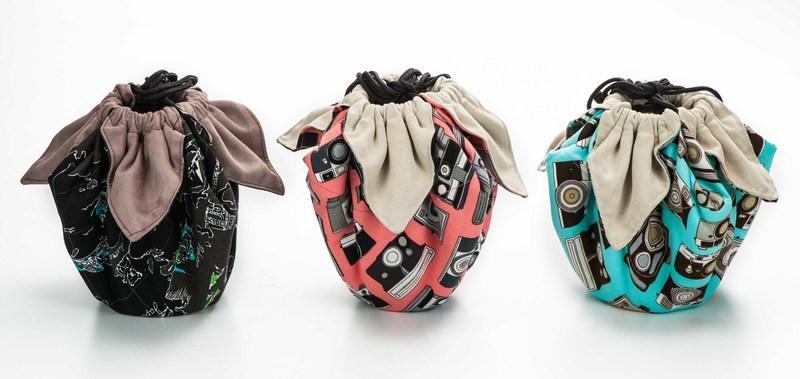 呈現攝影-手作 超細纖維包布束口袋 大號 40x40cm 大開口 保護袋 鏡頭袋 清潔布 相機袋 單眼/絨布