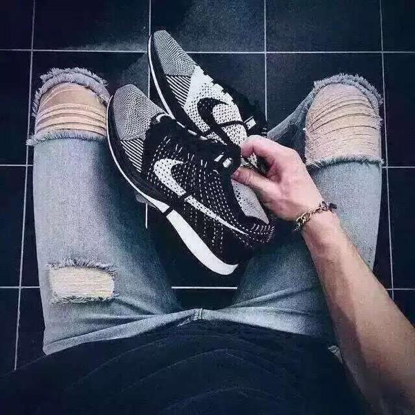 NIKE FLYKNIT RACER 陰陽鞋 黑白奧利奧 飛線輕量跑鞋 慢跑鞋 男女鞋 情侶鞋 耐吉鞋