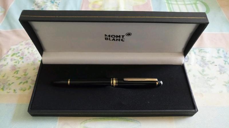 萬寶龍 經典小班金夾鋼筆 拉開式筆蓋 14k金 雙色F/M筆尖 黑色高級樹脂筆桿 撘配 完美組合 原廠盒子保證書 特價