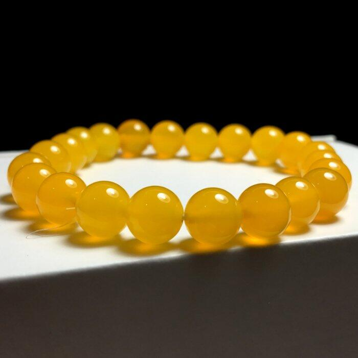 漂亮溫潤黃玉翡翠圓珠手環 ~~ 溫潤黃玉手珠 陽光下更漂亮耀眼 ~~ K
